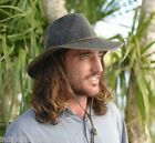 New Aussie Outback Weathered Cotton Hat UPF 50+ Black or Brown High Quality