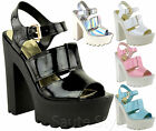 Ladies Women Cutout Chunky Cleated Platform High Heel Strappy Sandals Shoes Size