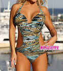 Sexy Chain Print green One Piece MONOKINI SWIMSUIT SWIMWEAR 556 UK Size 10 12 14