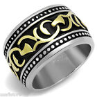 15 MM Wide Band Two Tone Silver Stainless Steel Celtic Style Tribal Mens Ring