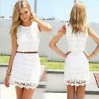 Women Summer Sleeveless Bandage BodyCon Lace Party Cocktail Mini Dress DJNG