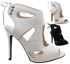 Ladies Women Cut Out Lace Up Stiletto Heel Peep Toe Gladiator Sandals Shoes Size