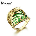 Viennois New Unisex 18K Dazzling Gold GP Spring Green Leaf Party Ring sz 7 8 9