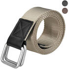 Mens Double Loop Buckle 114cm Military Canvas Waistband Belt