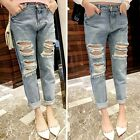 Cool Motorcycle Pants Distressed Casual Destroyed Ripped Denim Crop Jeans - CB