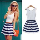New Sundress Lady Striped Patchwork O-neck Sleeveless Sim Casual Mini Dress - CB