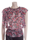 New Carbon Blouse Top Size 10 12 14 16 in Black with Red & Grey Flowers Sheer