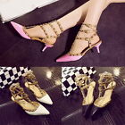Fashion Buckle Pointy Toe Studded Strappy Gladiators Kitten Heels Sandals Shoes