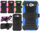For Us Cellular ZTE Imperial 2 Hybrid Combo Holster KICKSTAND Rubber Case Cover