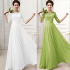 1PC Women Lace Chiffon Half Sleeve Wedding Evening Party Long Dress Trusty HOT