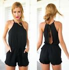 Women Strap Sleeveless Casual Sexy Short Shorts Slim Bodycon Jumpsuit & Romper S