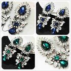 New Fashion Woman's Green/Blue White Crystal Bling Stud Drop/Dangle Earrings