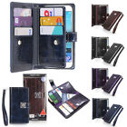 Sapphire Double Leather Wallet Diary Book Flip Case Cover For iPhone/Galaxy/LG