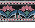 Black Stained Glass Vintage Pink Abstract Design Turquoise Wallpaper Wall Border