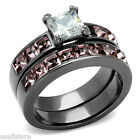 1.4ct Princess Cut Clear CZ Light Black EP Wedding Engagement Ring Set