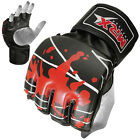 MMA Grappling Gloves UFC Cage Boxing Fight Punch Glove Leather Blood, Red Black