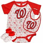 Majestic Washington Nationals Infant Triple Play 3-Piece Creeper Set - White/Red