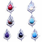 Charms Beads Rhinestone Natural Gemstone Jewelry Pendants Necklace Silver Plated