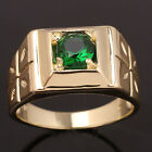 Gold Plated Simulated Green Emerald Men Ring Size 10 11 12 13 Star-Carve Band
