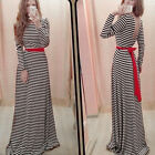 UK 4-20 Sexy Strip Bodycon Long Sleeve Boho Maxi Prom Party Cocktail Beach Dress