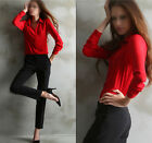 New Lady Casual Chiffon Polo Neck Blouse Ladies Loose Long Sleeve Top Shirt