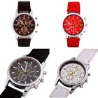 Fashion Men's Stainless Steel Round Dial Leather Sport Analog Quartz Wrist Watch