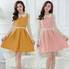 Womens Dress Lace Dress Preppy Peter Collar Long Sleeve Dress Fashion Elegant