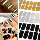 NEWEST 16 Pcs Nail Art Sticker Foils Tips Decoration Manicure Gold Silver Black