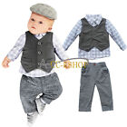Newborn Baby Boy Waistcoat Vest Pants T-Shirt Clothes 3PCs Gentleman Outfit Set