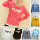 Women's Round Neck Long Sleeve Sweater Cotton Polyester Tops Sweatshirt  CA OD