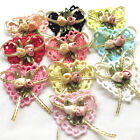 10/50PCS Ribbon Flowers Bows Padded Appliques Wedding Decor Lots Mix A443