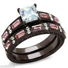 Ladies 1.4ct Princess Cut Clear & Rose Stones Le Chocolat  Wedding Ring Set