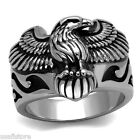 US Eagle Silver Stainless Steel Epoxy Black Decor Mens Ring