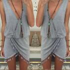 Women Summer Casual Sleeveless Party Evening Mini Dress Beach Dress S-XL DJNG