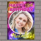 Personalised 18th 21st 30th 40th 50th Happy Birthday PHOTO Poster Banner N45