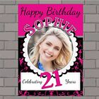 Personalised 18th 21st 30th 40th 50th Happy Birthday PHOTO Poster Banner N46