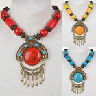 Tribal Statement Acrylic Tassel Retro Copper Wood Charm Bead Pendant Necklace