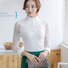 Women Lace T-shirt Top Long Sleeve Slim Fit Fashion US M L XL
