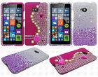 For Nokia Lumia 640 Crystal Diamond BLING Protector Hard Cover +Screen Protector