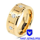 Mens Wedding Bands Tungsten Carbide Gold Rings For him Comfort Fit 3CZ Size 8-15