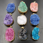 Natural Druzy Drusy Quartz Agate Silver Gold Freeform Pendant Beads Necklace