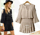 2015 Summer women chiffon oversize v neck T shirt tops Mini dress plus size hot