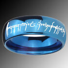 Tungsten LOTR Blue Glossy Mirror Dome Lord of the Ring Sz 4-14