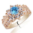 Shining Stones Gold Plated .925 Sterling Silver Ring Women Fashion Wear