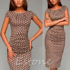 2015 New Season Women Ladies Polka Dot Deep Round Collar Maxi Dress