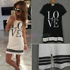 Womens Girls Casual Tops Blouse Summer Love Printed Mini Shirt  Dress T-shirt