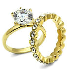 2pcs Wedding Set 2.76ct CZ With Etermity Band Gold EP Ladies Ring