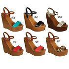 Breckelle's EMILY-44 Women's Ankle Strap Wedge Heel Sandals