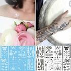 8x Design #C Lace Henna Ink Temporary Tattoo Inspired Sticker Coffee Black White