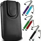 BLACK MAGNETIC BUTTON PULL TAB POUCH AND RETRACTABLE STYLUS FOR THE NOKIA LUMIA